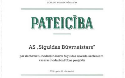Esam saņēmuši pateicību no Siguldas novada pašvaldības par darba vietu nodrošināšanu Siguldas novada skolēniem vasaras nodarbinātības projektā